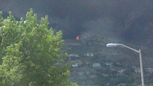 The view from my window as the fire entered the city.